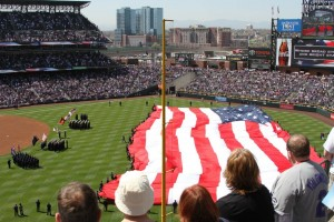 16Th Street Mall Denver - Coors Field American Flag